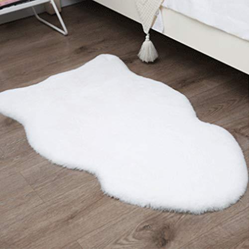 JXLOULAN Kunstfell Teppich- 60 x 90cm Hochflor Dekofell rutschfest Imitat Hasenfell Kurzflor Teppich Waschbar, für Wohnzimmer Schlafzimmer Sofa Stuhl Boden Kinderzimmer Flur