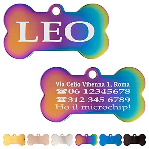 Iberiagifts - Zampa in Acciaio Targhetta Colori Medaglietta identificativa Personalizzata per Collare Cane Gatto Animale Domestico con incisione (Multicolore)