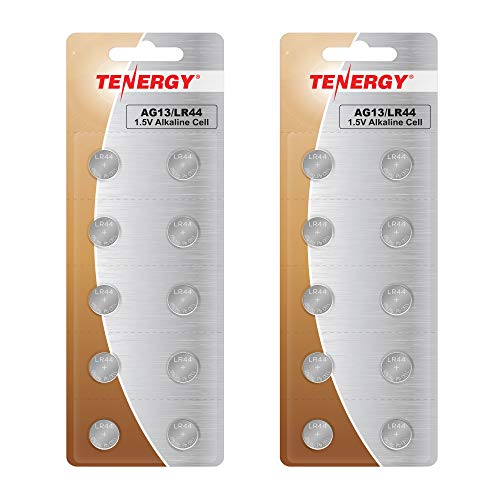 Tenergy 1.5 Volt Battery LR44, Button Cell LR44, ag13/LR44 Batteries Equivalent, Ideal for Watches, Laser Pointers, Small Toys, Portable Electronics, and More, 20 Pack