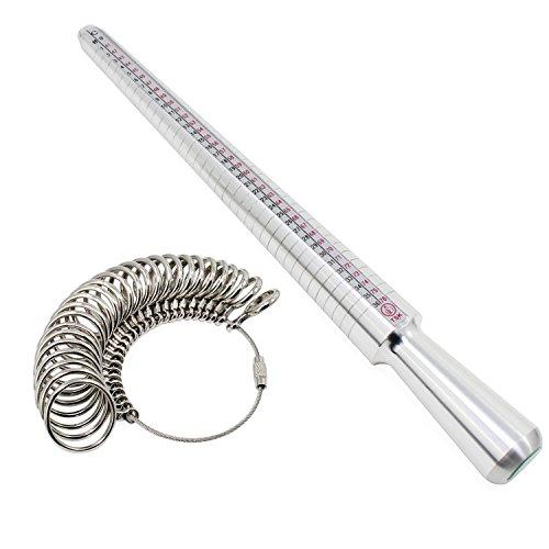 KEESIN Ringgröße Ring Gauge Mess Stick Ring Dorn Schmuck Werkzeug Größe A-Z Set 26 Stücke