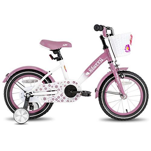 Joystar 16 Zoll Kinderfahrrad mit Handbremse und Korb für 4 5 6 7 Jahre Mädchen, 16 Zoll Kinderfahrrad mit Stützrädern und Kotflügeln, lavendel…
