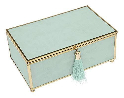 Philip Whitney Trinket Jewelry Box Organizer Mint Green Tassel  8x5
