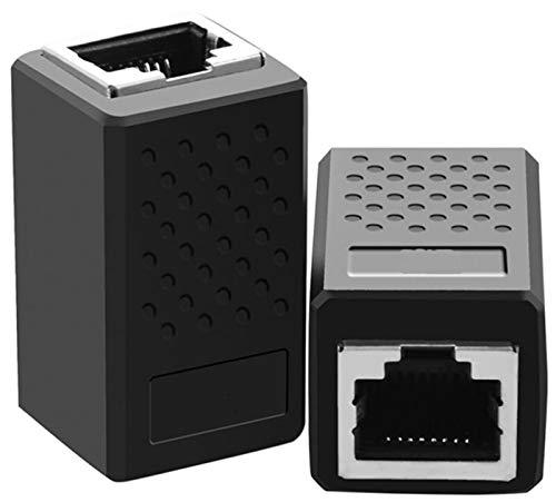 2 conectores Cat6, cable de red, cable de conexión, cable adaptador Ethernet, apantallado, 2 conectores RJ45 hembra, DSL LAN RJ45, negro (2 x RJ45 negro)