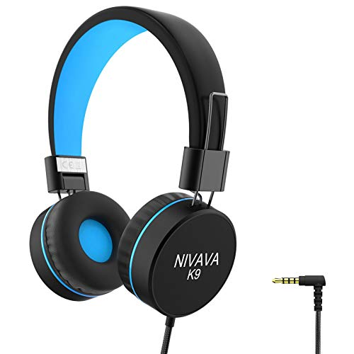 Nivava K9 Kids Headphones for Children Boys Girls Teens Wired 85dB Volume Limited Foldable Lightweight Stereo On Ear Headset for Cellphones Computer MP3/4 Kindle Airplane School (Black&Blue)