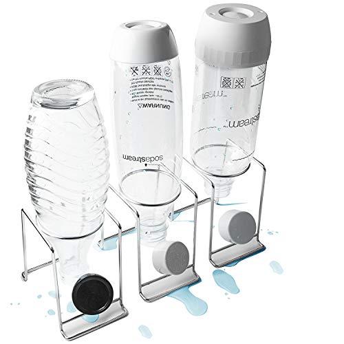 TOLIANCLE 3er Premium Abtropfhalter aus Edelstahl mit Abtropfwanne - für SodaStream und Emil Flaschen | spülmaschinenfest Abtropfständer Abtropfgestell inkl.