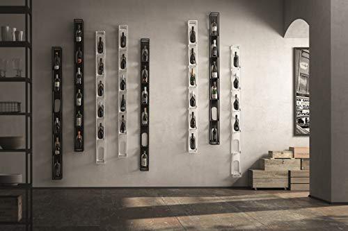 Soporte vertical (negro mate) botellero de vino de acero pintado con polvo, almacenamiento de 6 botellas.