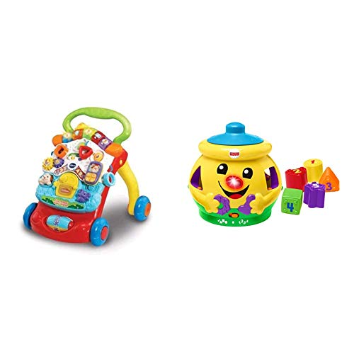 VTech 505603 Baby Walker, Multi-Coloured & Fisher-Price H8179 Cookie Shape Surprise, Laugh and Learn Shape Sorter Baby Learning Toy with Numbers, Colours and Music, Suitable for 6 Months+