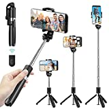 Selfie Stick Tripod for iPhone, Cell Phone Tripod Stand with Bluetooth Wireless Remote, 3 in 1 Portable Extendable Lightweight Tripod Compatible withiPhone/Android (Black)