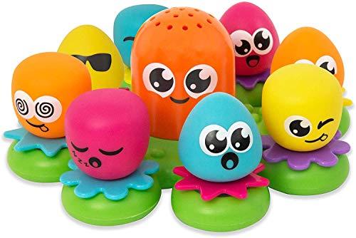 TOMY E2756 Wasserspiel für Kinder Okto Plantschis Mehrfarbig, Hochwertiges Kleinkinderspielzeug, Spielzeug für die Badewanne, Babyspielzeug ab 1 Jahr, Geschenke für Babys, Badewannenspielzeug