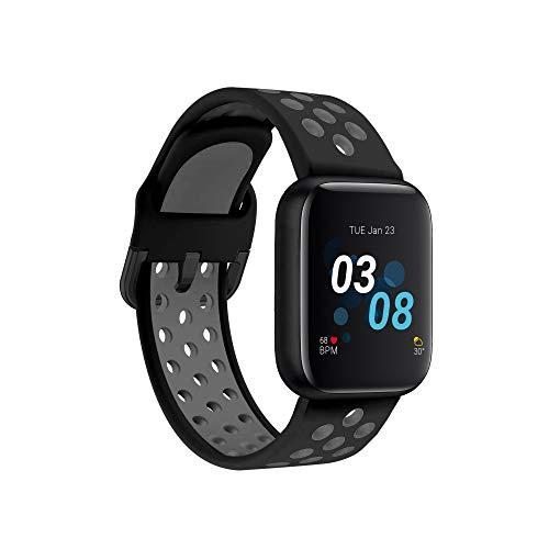 iTouch Reloj inteligente Air 3 para fitness, compatible con iPhone y Android, podómetro, caminar y correr para mujeres y hombres (negro/gris Perf)