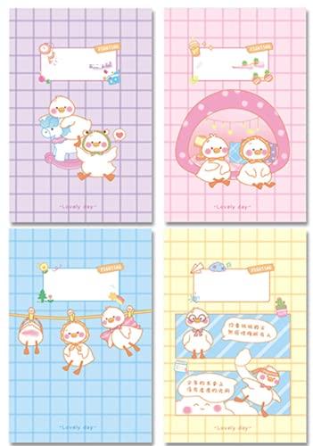 FACHAI 4 cuadernos de notas bonitos para la creación de diarios, 13,9 x 20,5 cm