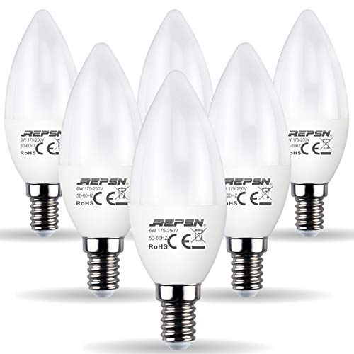 REPSN® E14 LED Lampe,E14 LED Kerze,E14 LED Leuchtmittel mit Kerzenform 8W ersetzt 60W Halogenlampe,700 lumens,180°Abstrahlwinkel,Nicht Dimmbar,6er-Pack (6er-Pack 2700K Warmweiß)