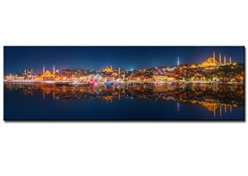 Berger Designs - Wandbild auf Leinwand als Kunstdruck in verschiedenen Größen. Panorama von Istanbul bei Nacht. Beste Qualität aus Deutschland (150 x 50 cm BxH)