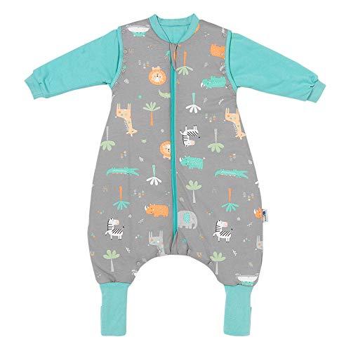 Schlummersack Baby Schlafsack mit Füßen Winter 3.5 Tog 80 cm Safari   Schlafsack mit Beinen und verlängerten Bündchen für eine Körpgergröße von 80-90cm   Winter Schlafsack Baby mit Ärmel