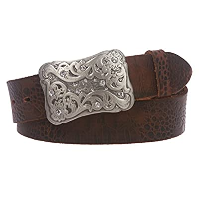 "Snap On 1 1/2"" Vintage Full Grain Leather Belt with Rhinestone Flower Buckle, Brown 