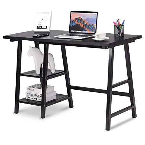 Tangkula Writing Computer Desk, Trestle Desk Study Desk, Laptop PC Desk, Modern Wood Vintage Style Reversible Storage Shelf, Home Office Furniture Sturdy Table Study Table (Black)