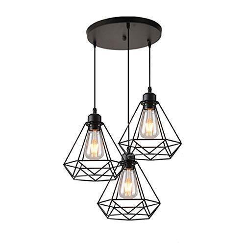 suspension industrielle vintage Suspension Géométrie Nid Style,Lampe de Plafond Vintage Luminaire Abat-Jour, Noir