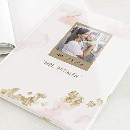 sendmoments Leeres Notizbuch, personalisiert mit Ihrem Text und -Bild, Aquarell & Blattgold, Schreibbuch, hochwertige Blanko-Innenseiten, Hardcover-Buch, Hochformat, 32 Seiten oder mehr, weiß Gold