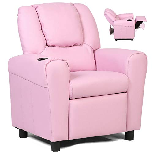 Costzon Kids Recliner Chair with Cup Holder, Toddler Furniture Children Armrest Sofa w/Headrest & Footrest for Girls Boys Baby Bedroom, Kids Room, PU Leather Kids Recliner Couch (Pink)