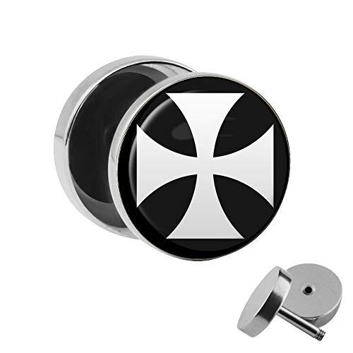 Treuheld | Ohrstecker zum Schrauben - eisernes Kreuz - weiß-schwarz - Motiv Fake-Plug Ø 10mm Silber - Edel-Stahl Ohr-Ringe - Chirurgen-Stahl 316L Fake-Tunnel - Gewinde Ohr-Stecker