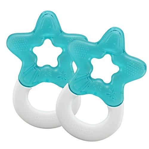 Dentistar Kühlbeißring 2er-Set – Für Babys und Kleinkinder ab 3 Monate geeignet – Kühlender, wassergefüllter Baby Beißring zur Zahnungshilfe und Massage mit Griff – Blau – Made in EU
