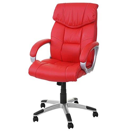 Poltrona ufficio M61 ecopelle design classico 67x60x113-123cm ~ rosso