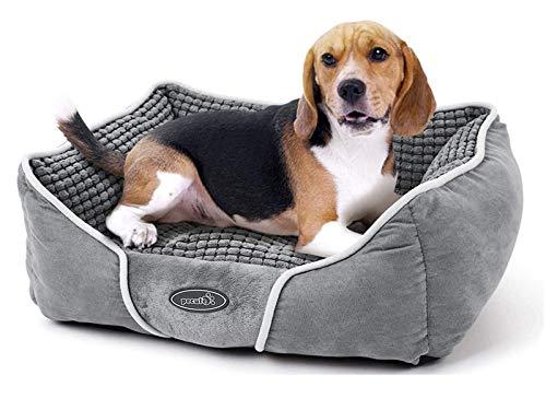 Pecute Cama de Perros y Mascotas Básica Cama de Suave Gamuza para Perros y Gatos de Color Gris M(63 * 53cm)