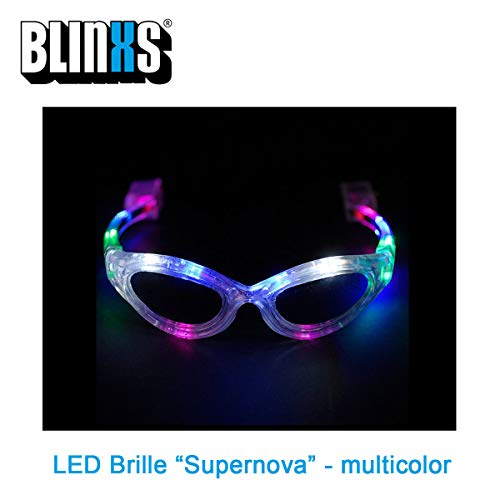 BLINXS LED Brille / Leuchtbrille Supernova mit 12 superhellen LED in Multicolor Leuchtend - für Party, Karneval, Konzerte, Festival und Club - mit austauschbaren Batterien