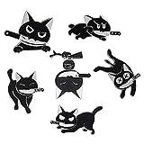 Black Cat with Knife Enamel Pins set,Cute...