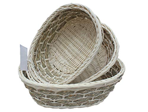 ShopOnNet Rt450181-3: Handwoven Wicker Storage Baskets in Cream and Brown (Set of 3)