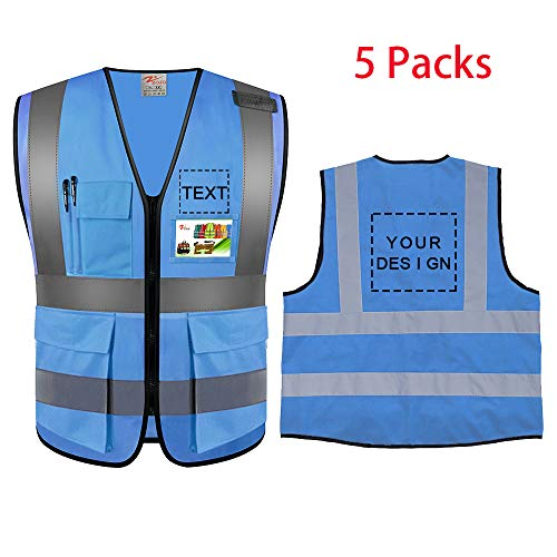 Zojo High Visibility Safety Vests With Pockets Custom Your Logo & Design 5Pcs Protective Workwear With Reflective Strips Wholesale for Outdoor Work fit for Men & Women (Blue (XL))