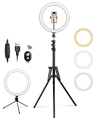 Entil 12'' Selfie Ring Light Mini LED Camera Lighting with Tripod and Cell Phone Stand Holder for YouTube Video Shooting/Photography Livestream Beauty Makeup, Compatible with iOS Android from Entil