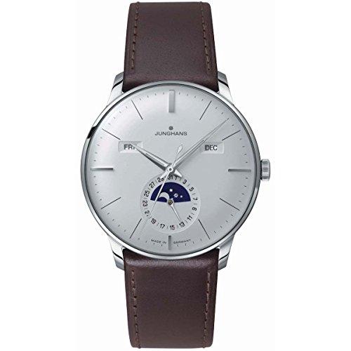Junghans MEISTER calendario 027/4200.0140.4mm automatico in acciaio INOX di vitello marrone vetro orologio da uomo