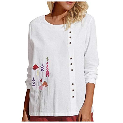 Camisas casuales de algodón y lino para mujer, camisetas de verano básicas de manga corta, camisetas de algodón para el tiempo libre Blanco XXL