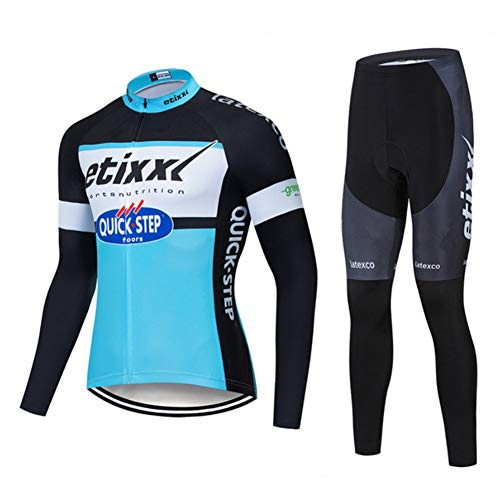Quick.Step Etixx Classic Bicycle Abbigliamento Sportivo - Jersey in Bicicletta Invernale for Uomo Manica Lunga PRO Racing Club - Bici da Strada all'aperto Anti-UV MTB Casse da Ciclismo