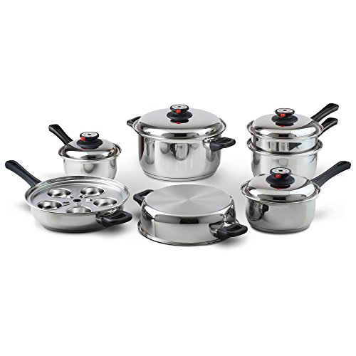 Maxam KT17 17-Piece 9-Element Surgical-Stainless-Steel Waterless Cookware Set Image