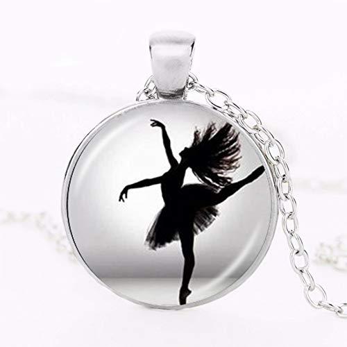 Collana ballerina ballerina ballerina ballerina ballerina ragazza foto ciondolo cabochon cupola gioielli moda per donna maglione collana