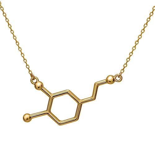 Dopamine Molecule Necklace in 18k Gold-plated Sterling Silver By Silver Phantom Jewelry