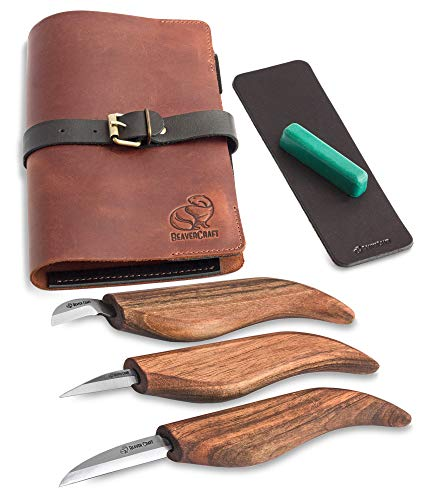 BeaverCraft Deluxe S15X Wood Carving Whittling Knives Set with Leather Case - Whittling Kit Premium...