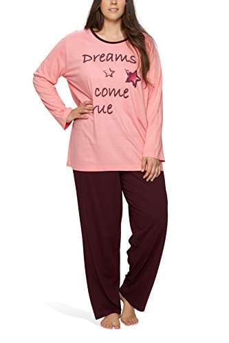 Moonline Plus - Pijama de Mujer en Tallas Grandes (XL-4XL) con Estampado 'Dreams Come True', Color:Rosa, Größe:60/62