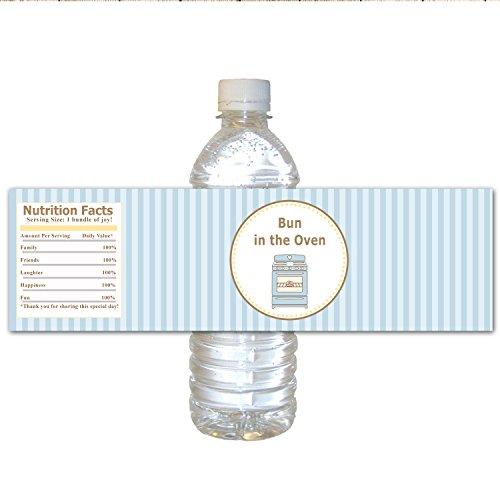 30 étiquettes bouteille d'eau de douche imperméable bébé garçon en soirée thème rayures bleu Chignon dans le four Caissettes