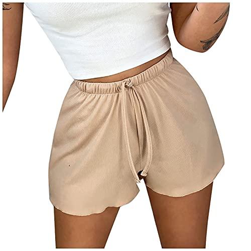 Mujer Pantalones Cortos Deportivos con Cordón Shorts de Acanalado Suelta Pantalón Cortos de Deporte Casual Verano Pantalones Cortos Transpirables Ocio,Fitness,Yoga