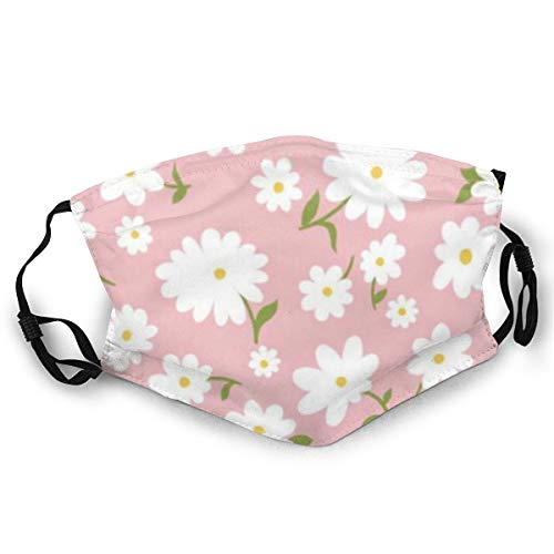 WLYDYS White Flowers Halloween Adult Dual Front Dustproof Protective Masks Face Mask Mouth Mask Mouth Cover Scarf Mask Camping/Outdoor Washable and Reusable Waterproof for Women