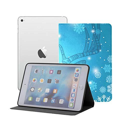 Compatible para iPad Mini 1/2/3 Funda, Slim Fit All Round Protect Cover Ciervos y Copos de Nieve Ángulos de Soporte de garabatos con Auto Sleep/Wake