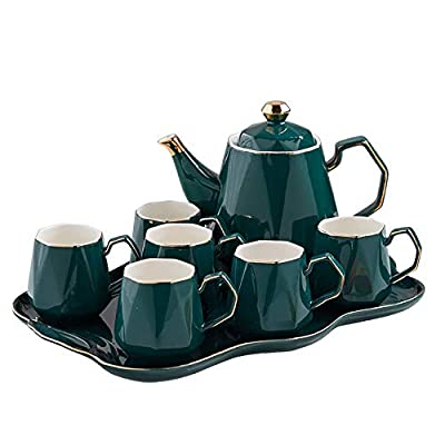 8-Piece Porcelain Ceramic Coffee Tea Gift Sets, 6 Cups, Teapot, Serving Tray