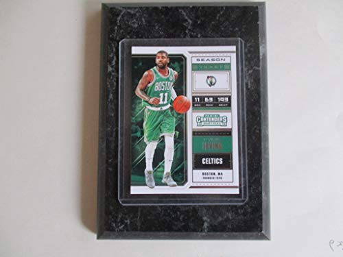 KYRIE IRVING BOSTON CELTICS PANINI CONTENDERS NBA 2018 (GREEN JERSEY) PLAYER CARD MOUNTED ON A 4' X 6' BLACK MARBLE PLAQUE