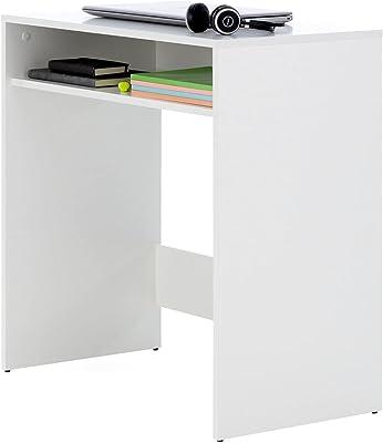 Comfort Bureau pour jeunes – Bureau pour studio, grande surface 1 niche pour rangement, fabriqué en bois avec finition en mélamine. Table d'étude fonctionnelle - ONETA blanche