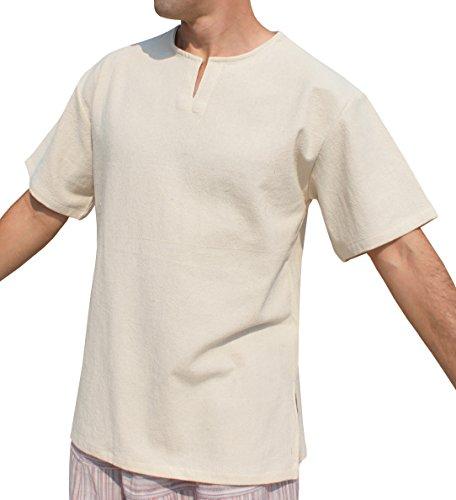 RaanPahMuang Open Collar Short Sleeve Farmers Shirt Plain Plus Warm Cotton, XXX-Large, Natural Cream