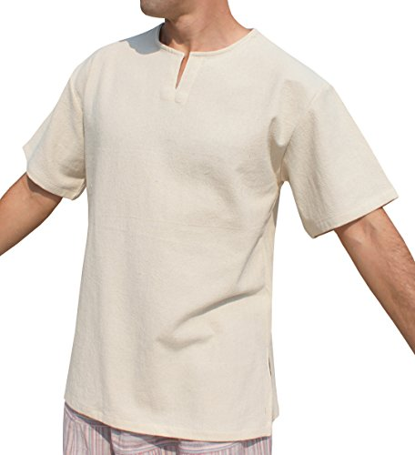 RaanPahMuang Open Collar Short Sleeve Farmers Shirt Plain Warm Cotton Side Slits, XX-Large, Natural Cream