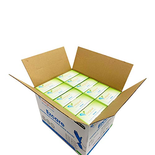 Nitrile Disposable Gloves, Powder-Free, Latex-Free, Textured Fingertips, 3 MIL thickness, Size Medium - 10 Boxes of 100 Gloves by Weight (1000 Count)
